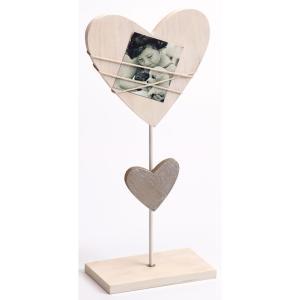 Ramka portetowa Bella, biała, w kształcie serca, na stojaku