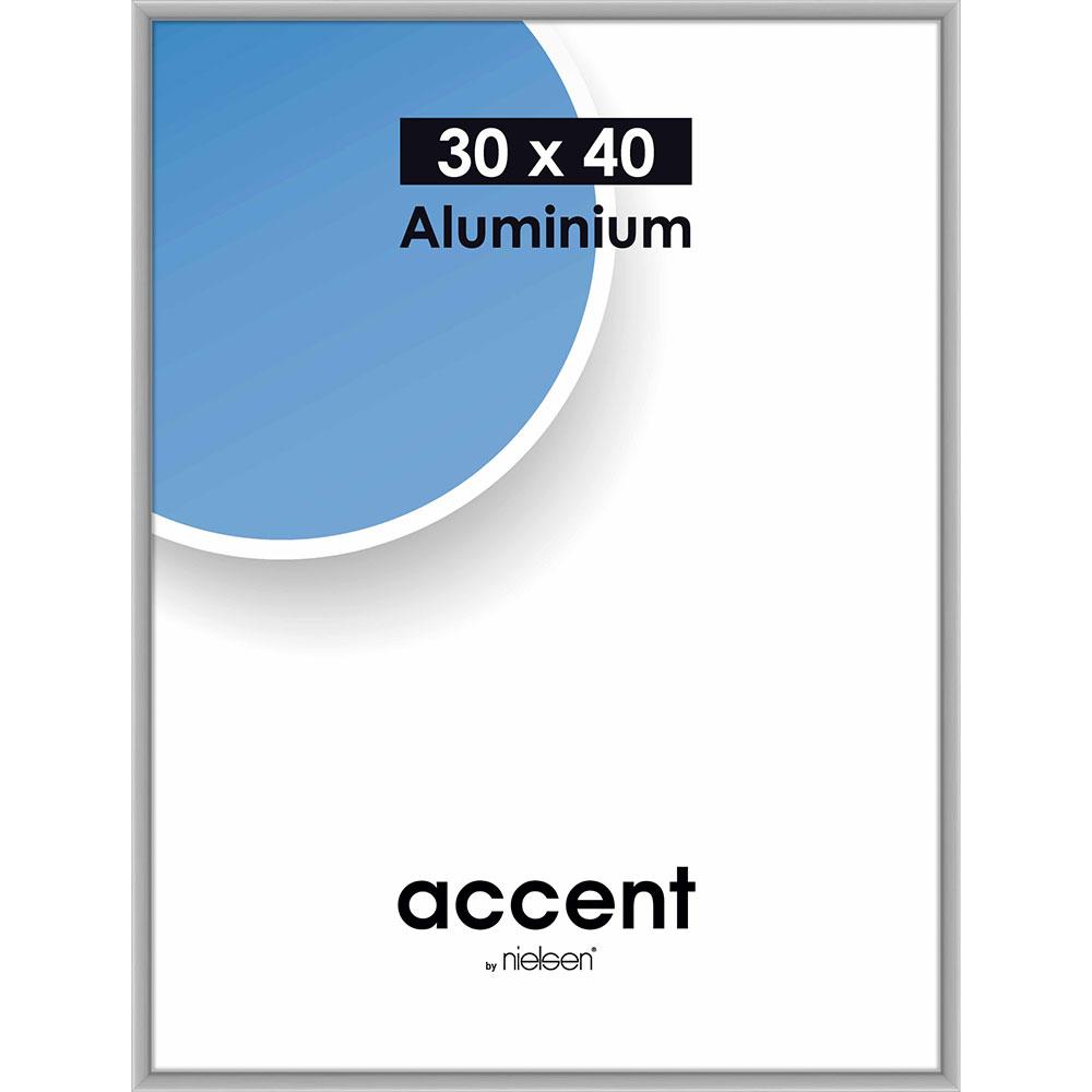 Rama aluminiowa Accent 30x40 cm | srebrny matowy | standardne szkło