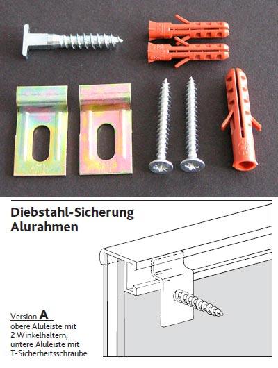 Zestaw antykradzieżowy do aluminiowej ramy do obrazów - wersja A