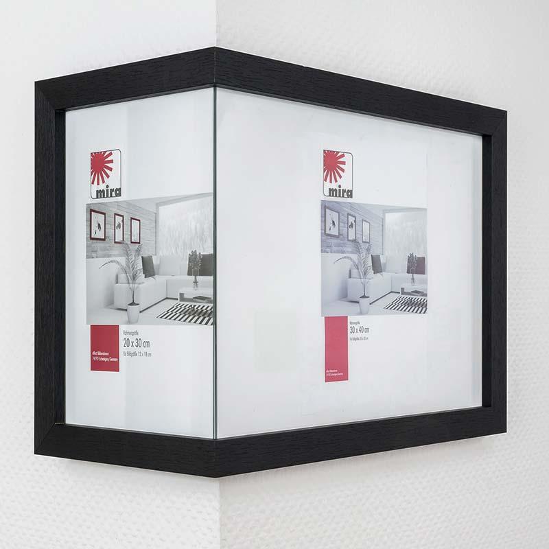 Rama na narożną ścianę 2:1, szeroka 20x30 cm / 30x40 cm | biały | standardne szkło