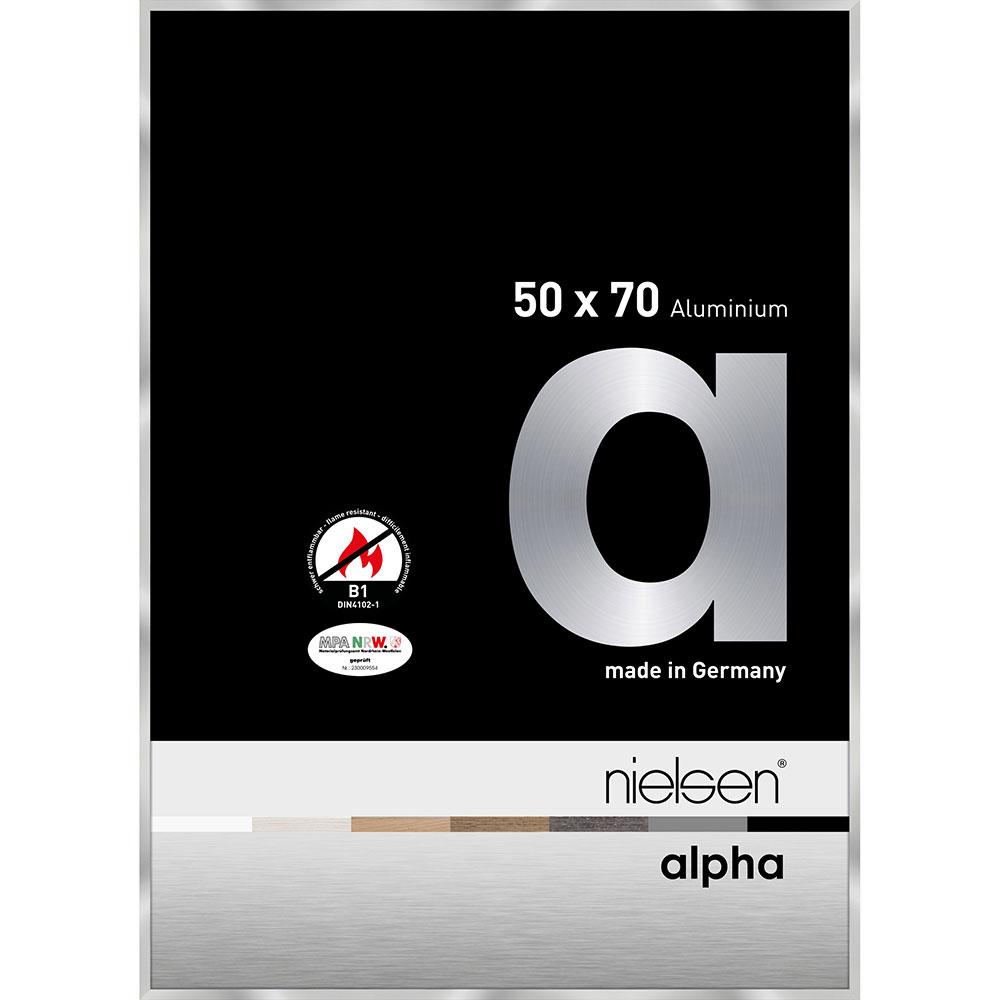 Ognioodporna rama do obrazów, standard B1 Alpha 50x70 cm | srebrny | standardne szkło