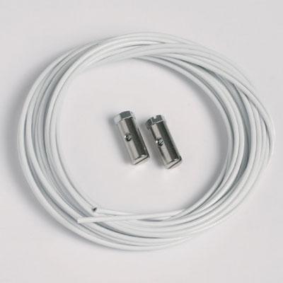 50 szt. linek stalowych białych 1,5mm/200cm z zaciskami zintegrowanymi (max. ciężar 7 kg)