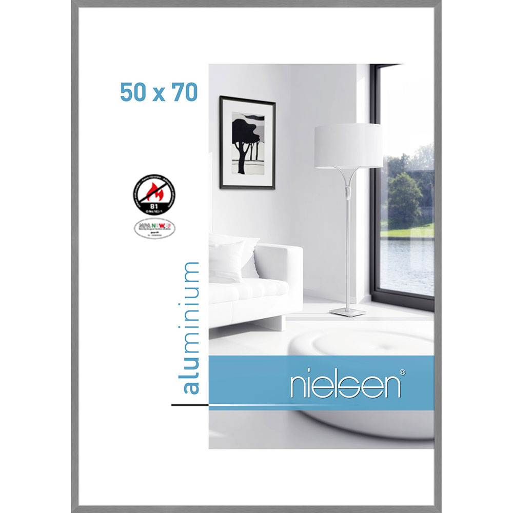 Ognioodporna rama do obrazów, standard B1 C2 50x70 cm | struktura srebrna matowa | standardne szkło