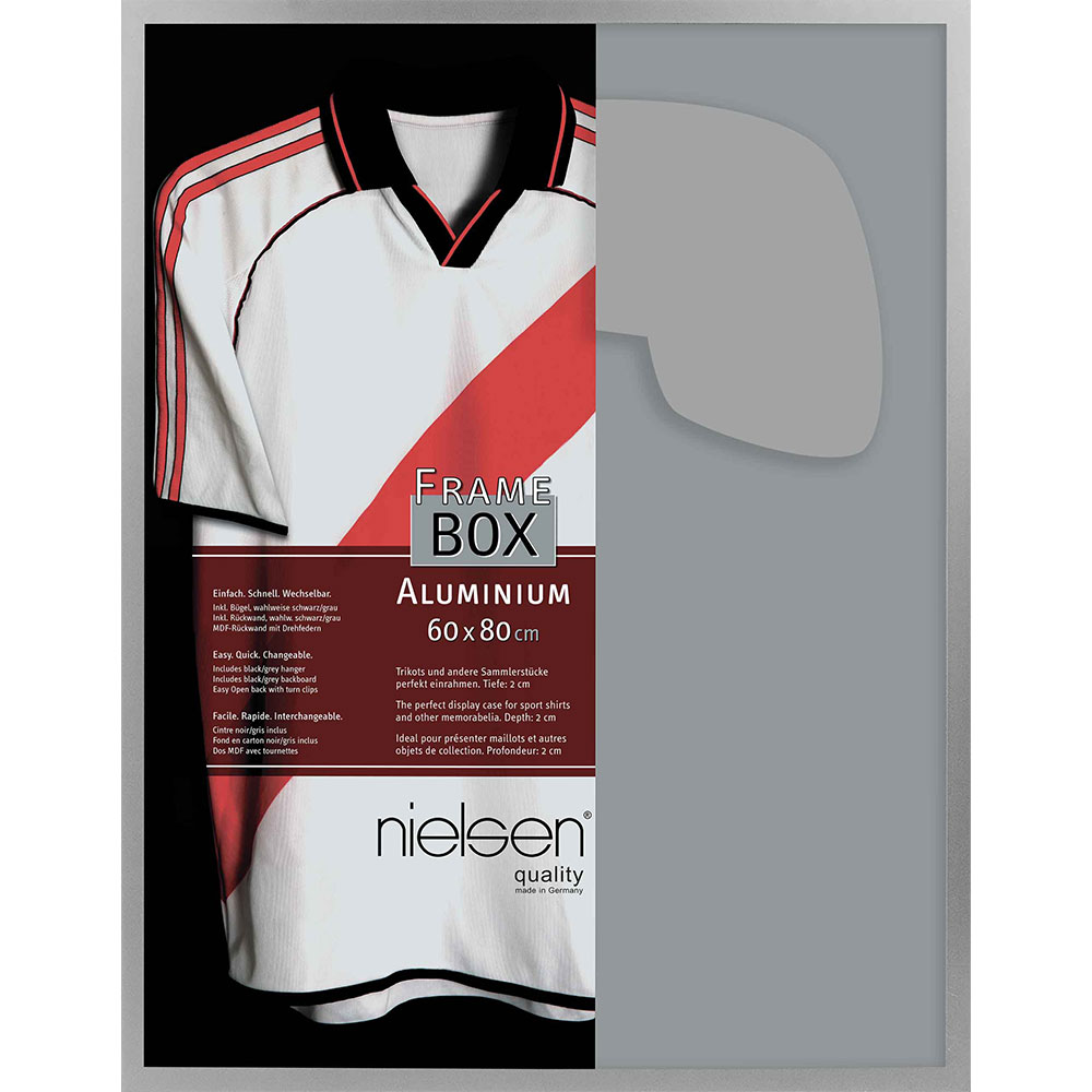 FrameBox II - rama na koszulkę piłkarską Nouvelle 60x80 cm | srebrny matowy | sztuczne szkło
