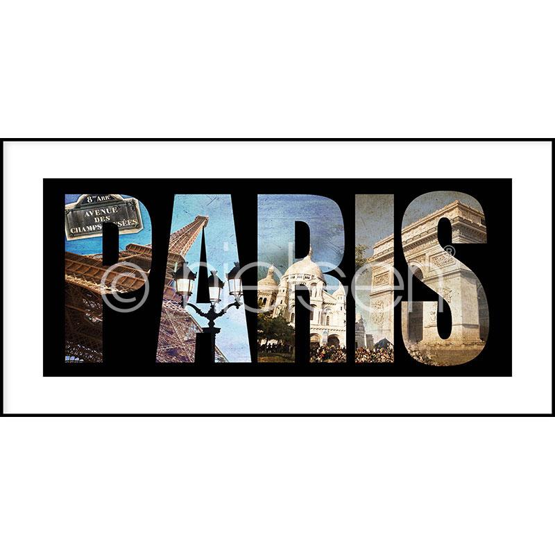"""Obramowany obraz """"Paris"""" z ramą aluminiową C2"""
