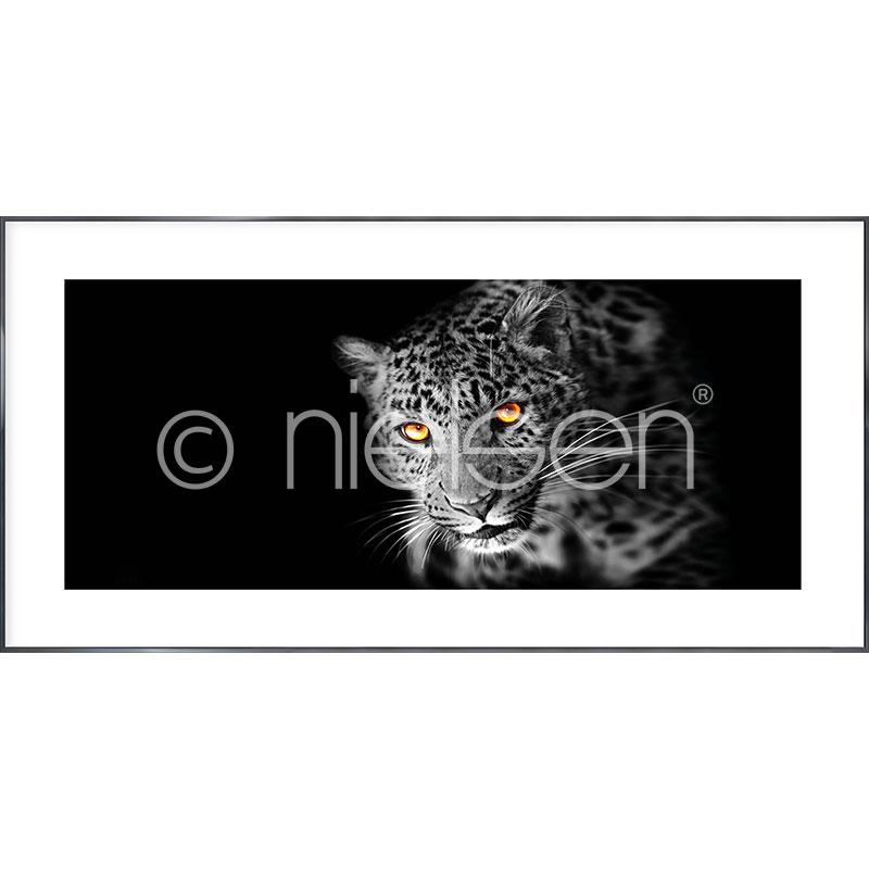 """Obramowany obraz """"Leopard"""" z ramą aluminiową Alpha"""
