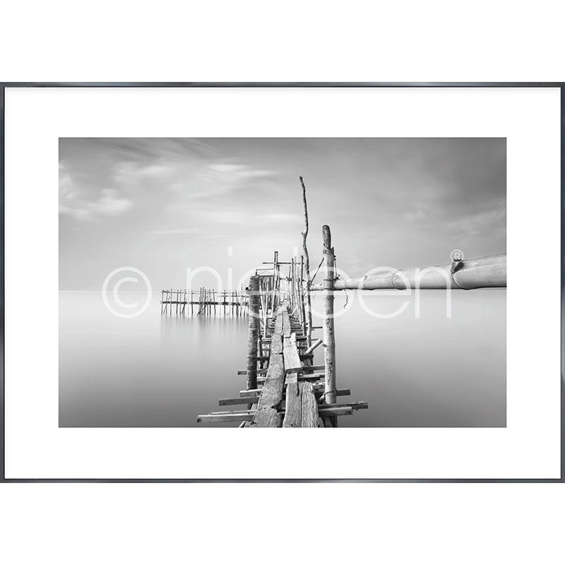"""Obramowany obraz """"Malaysian Fishing I"""" z ramą aluminiową Alpha"""