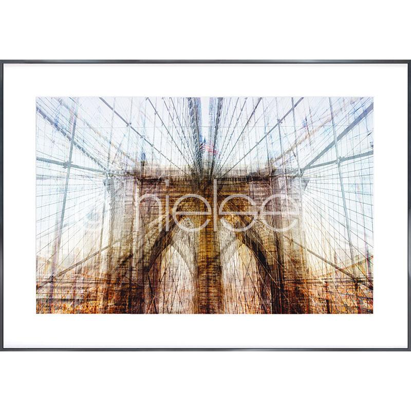 "Obramowany obraz ""Brooklyn Bridge"" z ramą aluminiową Alpha"