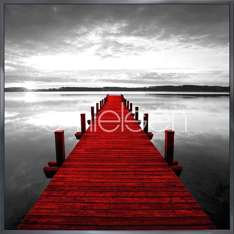 """Obramowany obraz """"Footbridge red"""" z ramą aluminiową Alpha"""