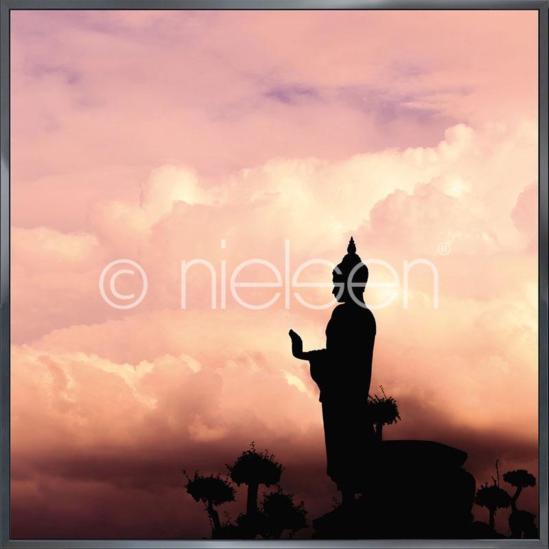 """Obramowany obraz """"Buddha"""" z ramą aluminiową Alpha"""