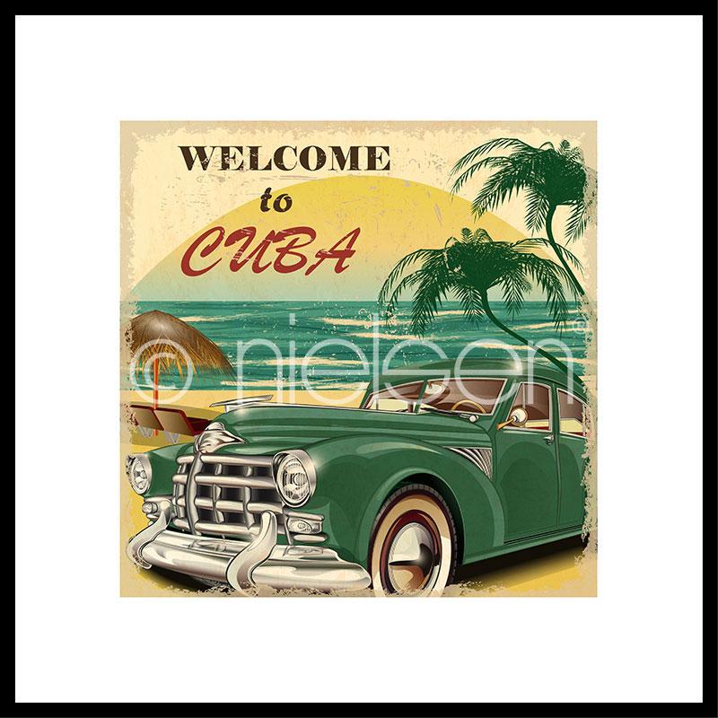 """Obramowany obraz """"Welcome to Cuba"""" z ramą aluminiową C2"""