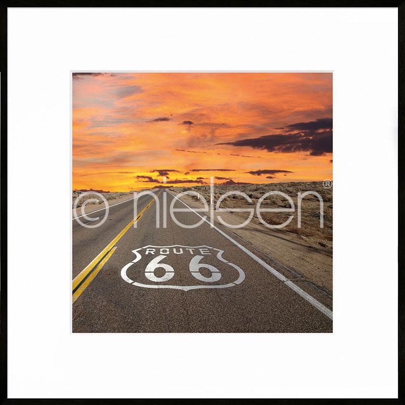 """Obramowany obraz """"Route 66"""" z ramą aluminiową C2"""