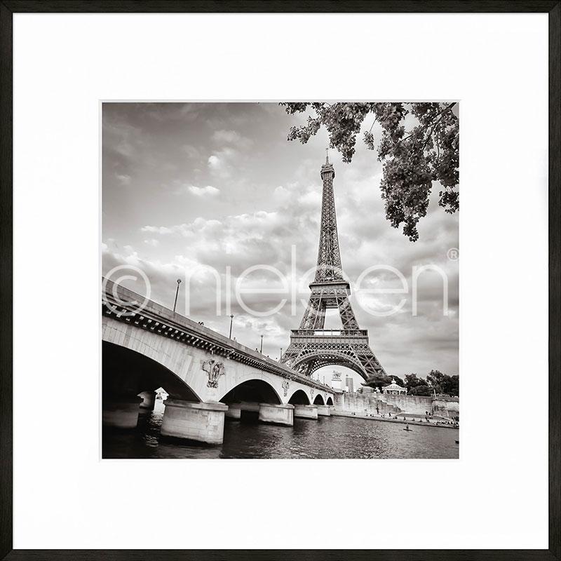 """Obramowany obraz """"Paris black and white"""" z ramą aluminiową C2"""