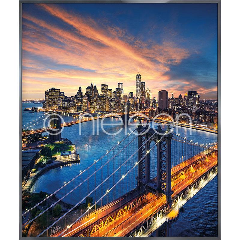 """Obramowany obraz """"New York City Sunset"""" z ramą aluminiową Alpha"""