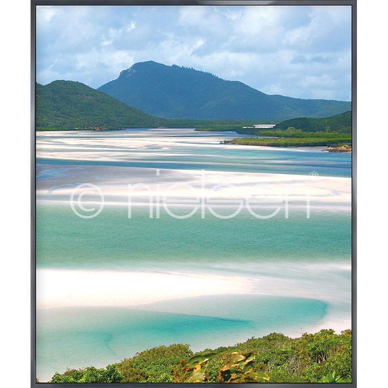 """Obramowany obraz """"White Haven Beach"""" z ramą aluminiową Alpha"""