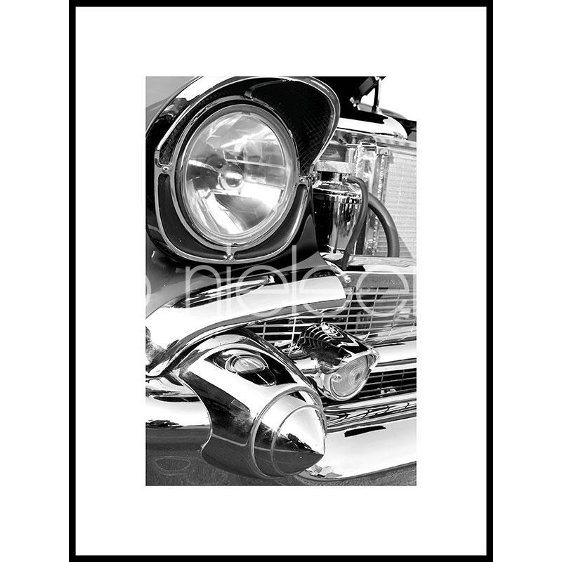 """Obramowany obraz """"Car Chrome"""" z ramą aluminiową C2"""