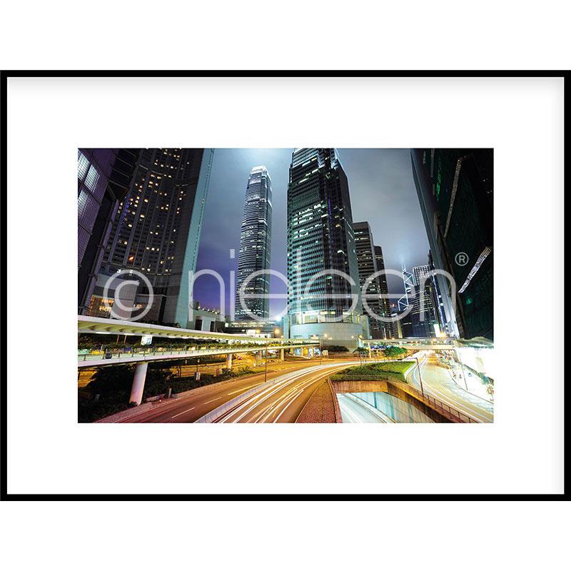 "Obramowany obraz ""Hongkong at Night"" z ramą aluminiową C2"