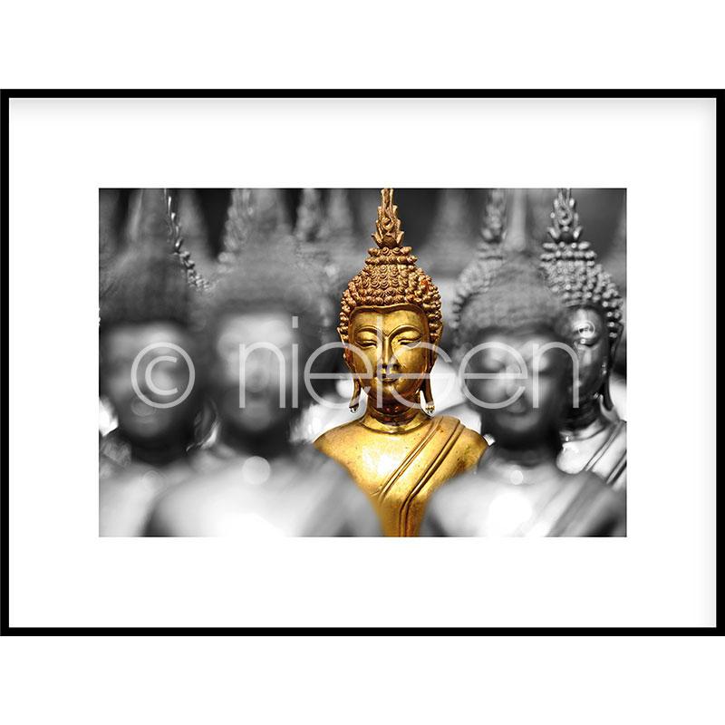 """Obramowany obraz """"Buddha in gold"""" z ramą aluminiową C2"""