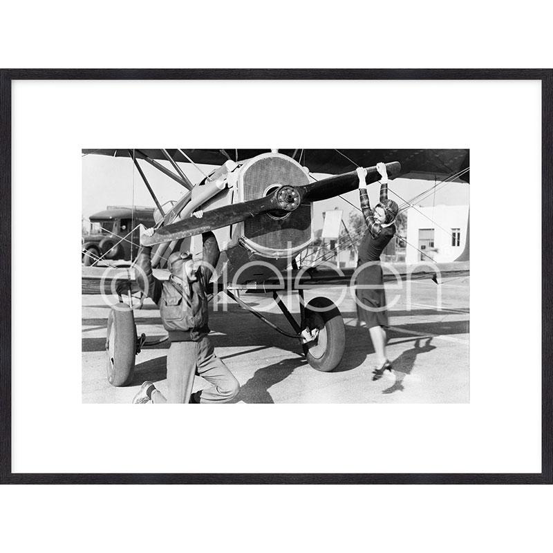 """Obramowany obraz """"Historic plane II"""" z ramą drewnianą Quadrum"""