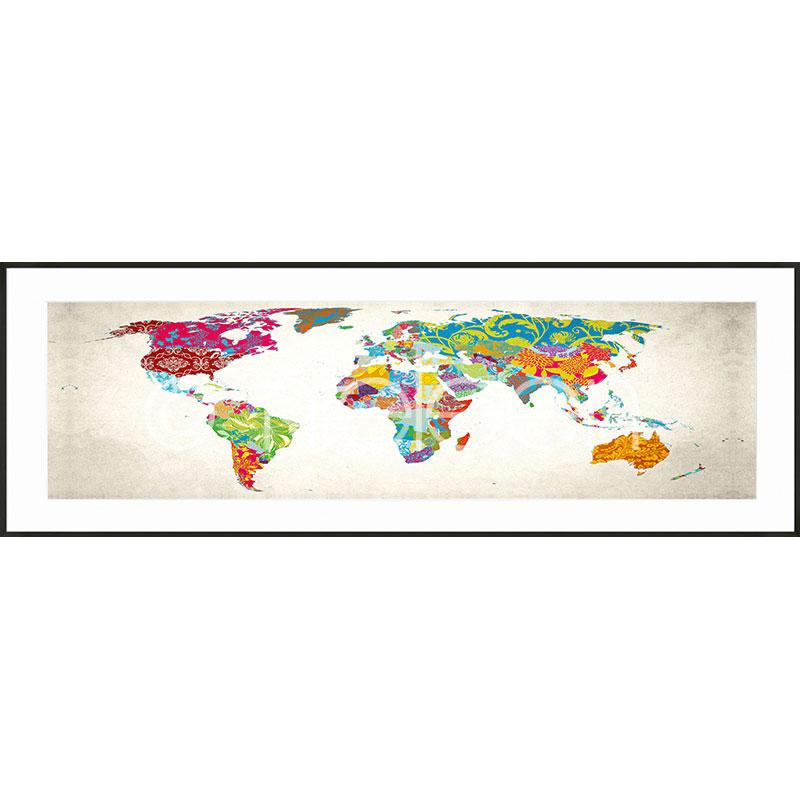 """Obramowany obraz """"World Map"""" z ramą aluminiową C2"""