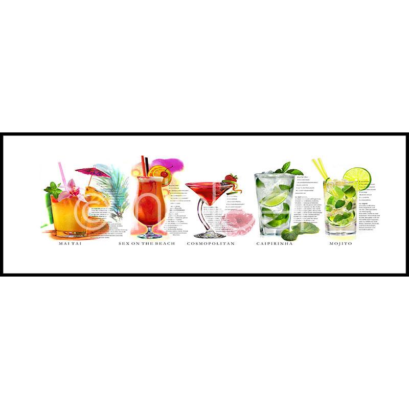 """Obramowany obraz """"Cocktails"""" z ramą aluminiową C2"""