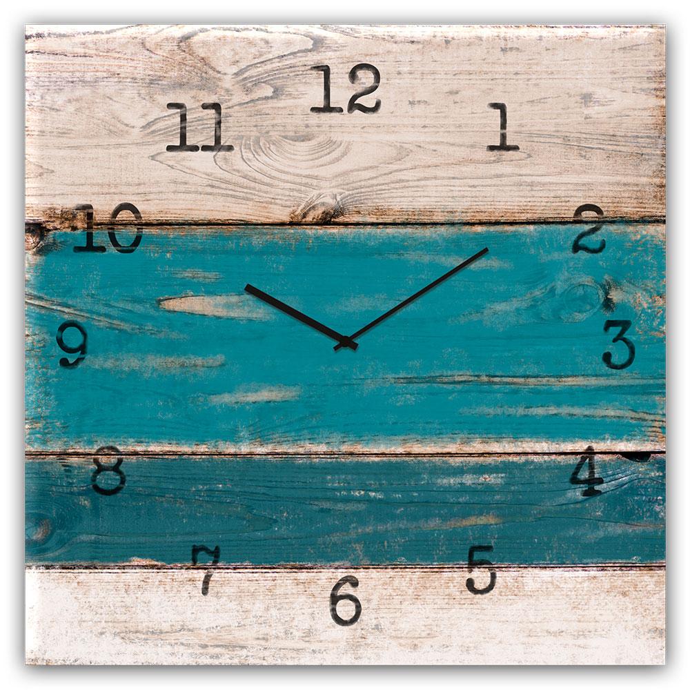 Szklany zegar BLUE WOOD