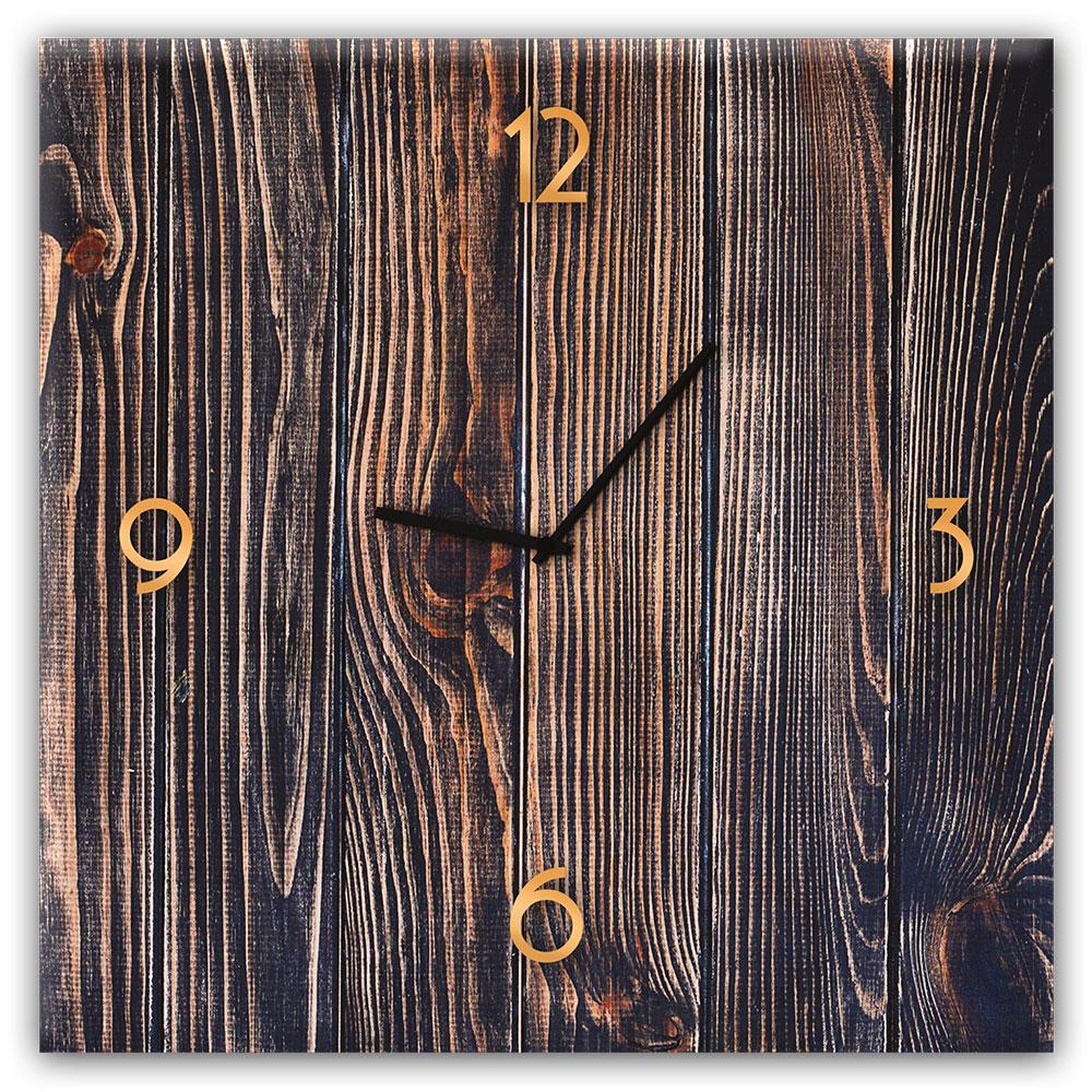 Szklany zegar GOLD WOOD
