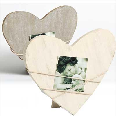 Ramka portetowa Bella 2, w kształcie serca, szara
